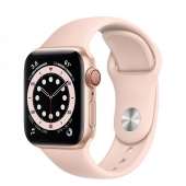 Apple Watch Series 6 GPS + Cellular 40mm Gold Aluminum Case w. Pink Sand Sport B. (M02P3)