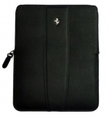 Ferrari Modena leather sleeve with zipper for iPad, black (FESLIPBL)