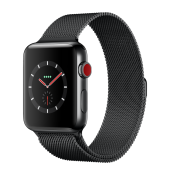 Apple Watch Series 3 42mm GPS+LTE Space Black Stainless Steel Case with Space Black Milanese Loop (MR1L2)