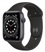 Apple Watch Series 6 44mm GPS Space Gray Aluminum Case with Black Sport Band (M00H3) (O_B)