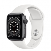 Apple Watch Series 6 40mm GPS Space Gray Aluminum Case with White Sport Band