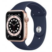 Apple Watch Series 6 44mm GPS Gold Aluminum Case with Deep Navy Sport Band