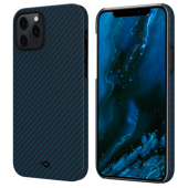 Pitaka MagEZ Case for iPhone 12 Pro Max, Twill Black/Blue (KI1208PM)
