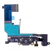 Шлейф зарядки и гарнитуры (Flat Cable Charger Connector with HF) для iPhone SE Black Original