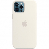 Apple Silicone Case with MagSafe for iPhone 12 Pro Max, White (MHLE3)