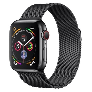 Apple Watch Series 4 GPS + LTE 40mm Black Steel w. Black Milanese l. Black Steel (MTUQ2, MTVM2)