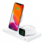 Belkin BOOST CHARGE 3-in-1 Wireless Charger for iPhone + Apple Watch + AirPods, White