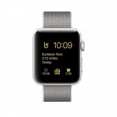 Часы Apple Watch Series 2 38mm Silver Aluminum Case with Pearl Woven Nylon Band (MNNX2)
