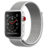 NEW Apple Watch Series 3 GPS + Cellular 38mm Silver Aluminum w. Seashell Sport L. (MQJR2)