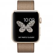 Часы Apple Watch Series 2 42mm Gold Aluminum Case with Toasted CoffeeCaramel Woven Nylon Band (MNPP2)