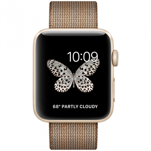 Часы Apple Watch Series 2 42mm Gold Aluminum Case with Toasted CoffeeCaramel Woven Nylon Band (MNPP2)