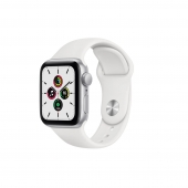 Apple Watch SE 40mm GPS Silver Aluminum Case with White Sport Band (MYDM2)
