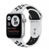 Apple Watch Series 6 Nike GPS + Cellular 40mm Silver Aluminum Case with Pure Platinum/Black Nike Sport Band (M06J3 / M07C3)