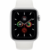 Apple Watch Series 5 GPS + LTE 44mm Silver Aluminum Case with White Sport Band (MWVY2)