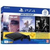 ИГРОВАЯ ПРИСТАВКА SONY PLAYSTATION 4 SLIM 1TB BLACK HORIZON ZERO DAWN CE + DETROIT + THE LAST OF US + PSPLUS 3М (9926009)