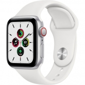 Apple Watch SE GPS + Cellular 40mm Silver Aluminum Case with White Sport B. (MYE82)