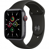 Apple Watch SE GPS + Cellular 44mm Space Gray Aluminum Case with Black Sport B. (MYER2) (O_B)