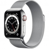 Apple Watch Series 6 GPS + Cellular 40mm Silver Stainless Steel Case w. Silver Milanese L. (M02V3)