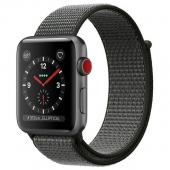 Apple Watch Series 3 38mm GPS+LTE Space Gray Aluminum Case with Dark Olive Sport Loop (MQJT2)