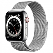 Apple Watch Series 6 GPS + Cellular, 44mm Silver Stainless Steel Case with Silver Milanese Loop (M07M3/M09E3)