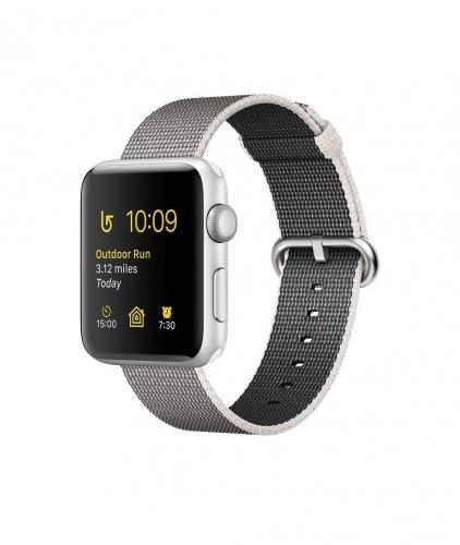 Часы  Apple Watch Series 2 42mm Silver Aluminum Case with Pearl Woven Nylon Band (MNPK2)