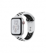Apple Watch Series 4 Nike+ GPS + Cellular 44mm Silver c. w. Pure Platinum/Black Nike Sport b. (MTXK2)