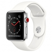 Apple Watch Series 3 42mm GPS+LTE Stainless Steel Case with Soft White Sport Band (MQK82)