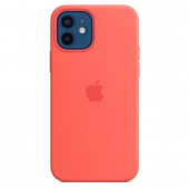 Apple Silicone Case with MagSafe for iPhone 12/12 Pro, Pink Citrus 1:1