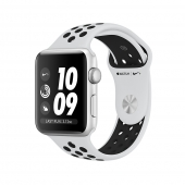 NEW Apple Watch Series 3 Nike+ GPS 38mm Silver Aluminum Case with Pure Platinum / Black Sport Band (MQKX2)
