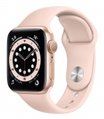 Apple Watch Series 6 44mm GPS Gold Aluminum Case with Pink Sand Sport Band (M00E3) (Open Box)