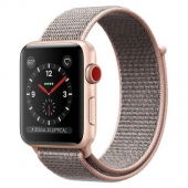 Apple Watch Series 3 38mm GPS+LTE Gold Aluminum Case with Pink Sand Sport Loop (MQJU2)