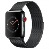 Apple Watch Series 3 38mm GPS+LTE Space Black Stainless Steel Case with Space Black Milanese Loop (MR1H2)
