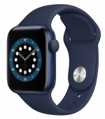 Apple Watch Series 6 40mm GPS Blue Aluminum Case with Deep Navy Sport Band (MG143) - Open Box