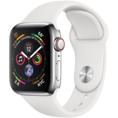 Б/У Apple Watch Series 4 GPS + LTE 40mm Stainless Steel with White Sport Band (MTUL2, MTVJ2)
