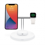 Belkin BOOST ↑ CHARGE PRO 3-in-1 Wireless Charger with MagSafe, White