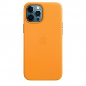 Apple Leather Case with MagSafe for iPhone 12 Pro Max, California Poppy (MHKH3)