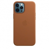 Apple Leather Case with MagSafe for iPhone 12 Pro Max, Saddle Brown (MHKL3)