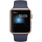 Часы Apple Watch Series 1 42mm Rose Gold Aluminum Case with Midnight Blue Sport Band (MNNM2)