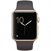 Часы Apple Watch Series 1 42mm Gold Aluminum Case with Cocoa Sport Band (MNNN2)