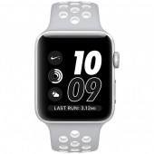 Часы Apple Watch Nike+ 42mm Silver Aluminum Case with Flat Silver/White Nike Sport Band (MNNT2)
