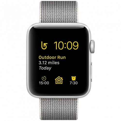 Часы  Apple Watch Series 2 42mm Silver Aluminum Case with Pearl Woven Nylon Band (MNPK2)