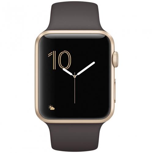 Часы  Apple Watch Series 2 42mm Gold Aluminium Case with Cocoa Sport Band (MNPN2)