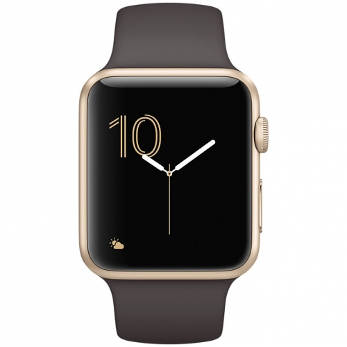 Часы  Apple Watch Series 2 42mm Gold Aluminium Case with Cocoa Sport Band (MNPN2)