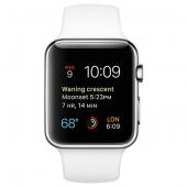 Часы Apple Watch Series 2 42mm Stainless Steel Case with White Sport Band (MNPR2)