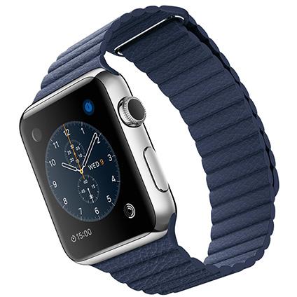 Часы Apple Watch Series 2 42mm Stainless Steel Case with Midnight Blue Leather Loop - Medium (MNPW2)