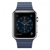 Часы Apple Watch Series 2 42mm Stainless Steel Case with Midnight Blue Leather Loop - Medium (MNPW2)