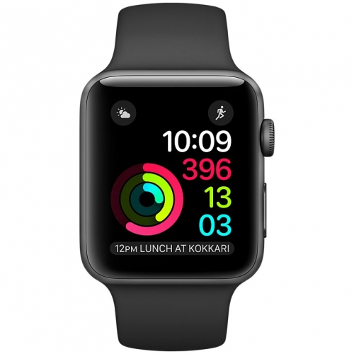Часы Apple Watch Series 2 42mm Space Gray Aluminum Case with Black Sport Band (MP062)
