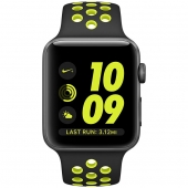 Часы Apple Watch Nike+ 42mm Space Gray Aluminum Case with Black/Volt Nike Sport Band (MP0A2)