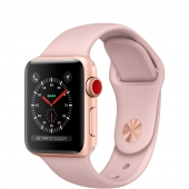 Apple Watch Series 3 38mm GPS+LTE Gold Aluminum Case with Pink Sand Sport Band (MQJQ2)