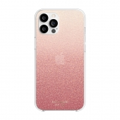 Kate Spade New York Protective Protective Hardshell Case for iPhone 12 Pro Max, Glitter Ombre Sunset Pink (KSIPH-154-GLOSN)